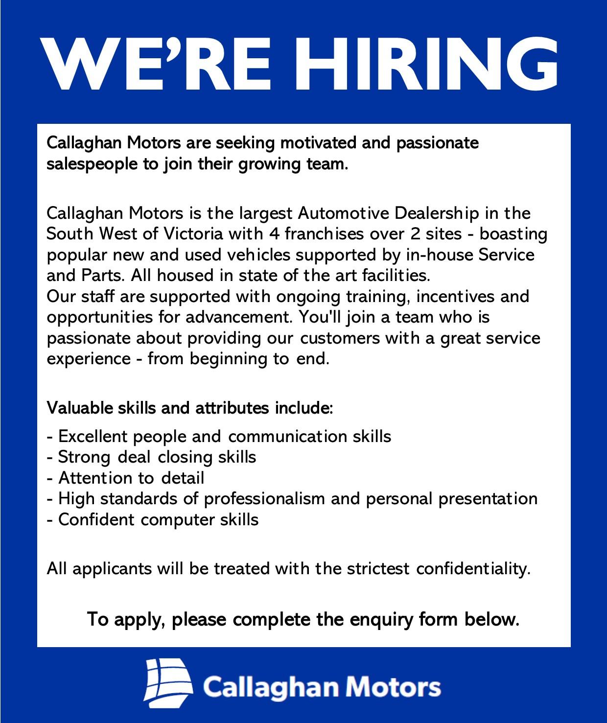 Callaghan Motors Job Ad