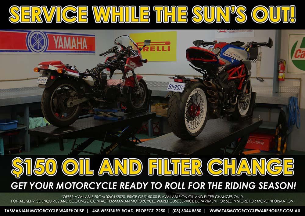 Tasmania Motorcycles Warehouse Service Special
