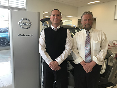 David Albrighton, Nissan Sales Manager, Peter Moore and Michael Upfield.