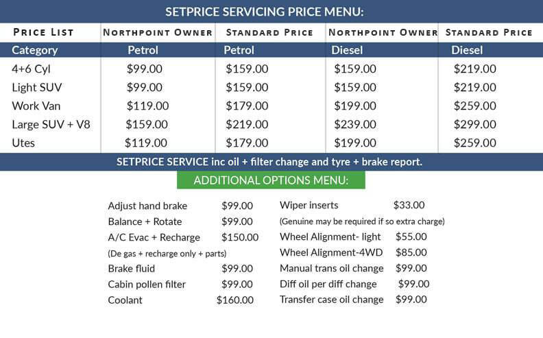 North Point Fleurieu Set Price Servicing